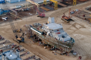 NOAA Ship at the shipyard, under construction