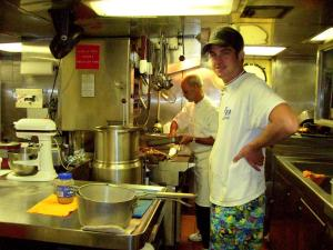 Two men in ship's galley