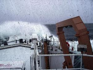 Wave over ship's bow