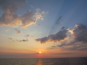 seascape on science research cruise on the Atlantic.  Beautiful sunrise.