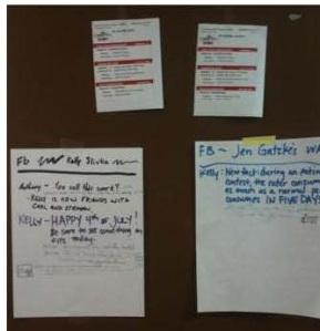 """paper  """"walls"""" posted ojn cabin doors"""