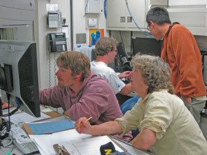 Team in dry lab during hydrography oeprations