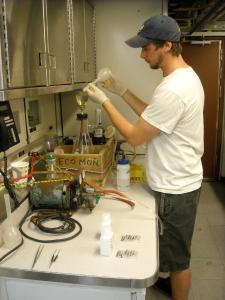 Filtering seawater samples
