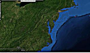 A screen image captured from the NOAA Shiptracker page shows the progress being made by the Pisces as the ship works its way northward along the continental shelf.   Screen capture by Jerry Prezioso, NEC / NOAA.