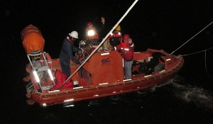 team leabves on rescue boat