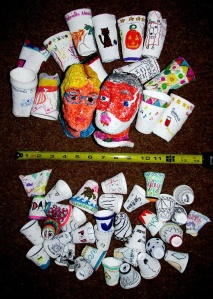 decorated strufoam cups and menikin heads