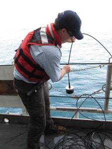 Survey Technician Geoff Shook lowers a transducer over the side to communicate with the submerged Autonomous Multi-channel Acoustic Recorder (AMAR) mooring. Photo by Jerry Prezioso NEFSC / NOAA.