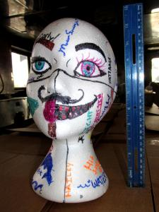 Styrofoam mannequin head decorated by Prout High School Oceanography students. Photo by Jerry Prezioso, NOAA