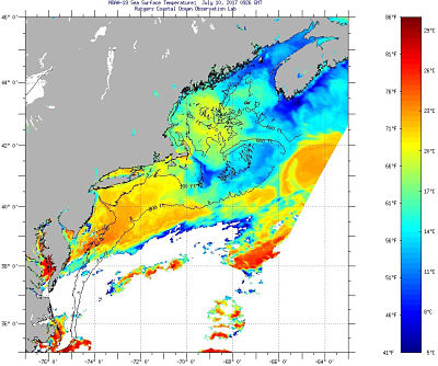 Color coded chart of ocean water surface temperatures off the Northeatern U.S.