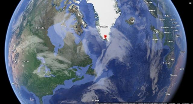 Google earth image with Qaqortoq Greenland pinned